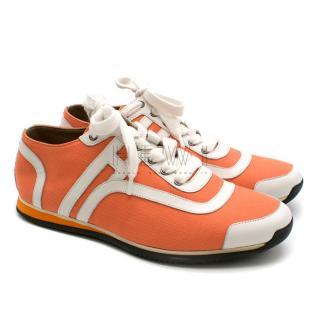 Hermes Neon Orange Canvas H Trainer