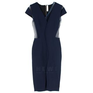 Victoria Beckham Blue Tulle Panelled Fitted Dress