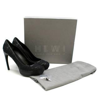 Alexander McQueen Black Platform Lace Detailed Leather Pumps