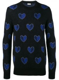 Saint Laurent Mohair Blend Heart & Bolt Sweater