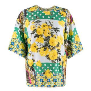 Dolce & Gabbana Polka Dot Print Foulard Silk Twill Blouse