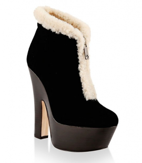 Dsquared2 Suede Shearling Trim Platform Boots