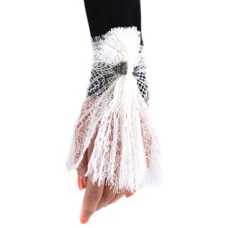 Catherine Osti White Point D'esprit Tulle Lace Cuffs