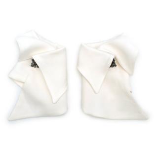 Catherine Osti White Jewel Embellished Cuffs
