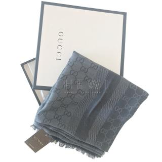 Gucci Wool & Silk Grey GG jacquard Stole