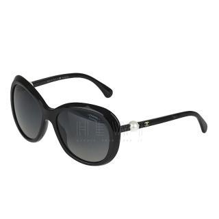 Chanel Black Oversize Pearl Detail Sunglasses