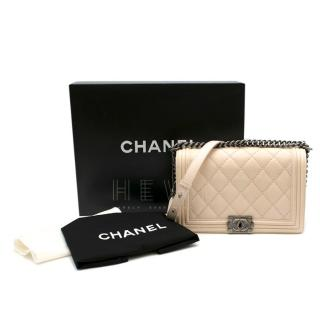 Chanel Creme Blush Quilted Leather Medium Le Boy