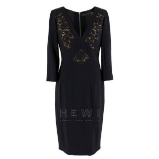 Elie Saab Black Lace Panelled Double Zip Dress