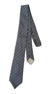 Celine vintage blue chainlink & stirrup silk tie