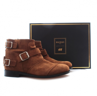 Balmain x H&M Suede Buckled Ankle Boots