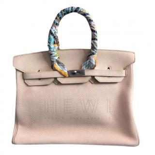 Hermes Mat White F1 Clemence Leather 35cm Birkin