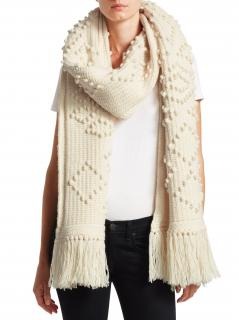 Saint Laurent Large Fringed Ivory Cable Knit Scarf - New Season