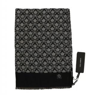 Dolce & Gabbana Men's Black & White Cashmere Scarf