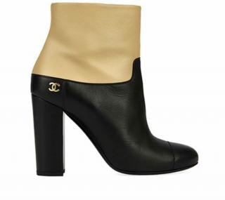 Chanel Two-Tone Almond Toe Ankle Boots