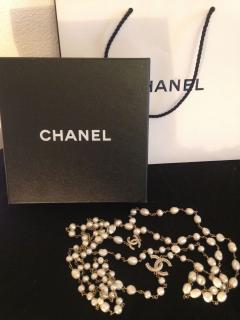 Chanel double strand real fresh water pearl necklace