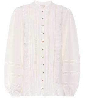 Zimmermann Ruffle And Lace Trimmed Silk Blouse
