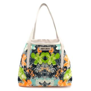 Jimmy Choo Canvas Orchid Print Medium Sara Print Tote