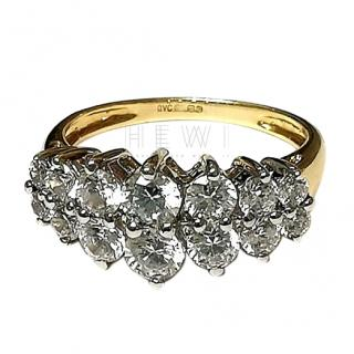 Bespoke Double Row Crystal Cluster Ring
