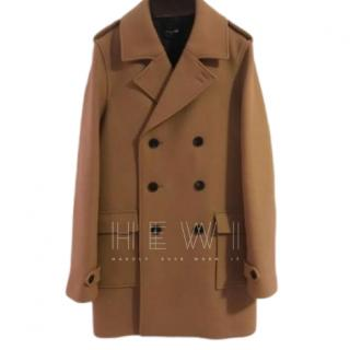 The Kooples Double Breasted Tan Wool Coat