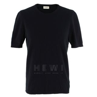 Saint Laurent Crewneck Black Short Sleeve Cashmere Sweater