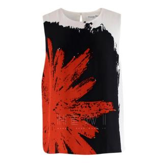 Christian Dior Silk Sleeveless Printed Top