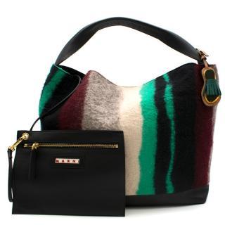 Marni Striped Wool & Leather Tote Bag
