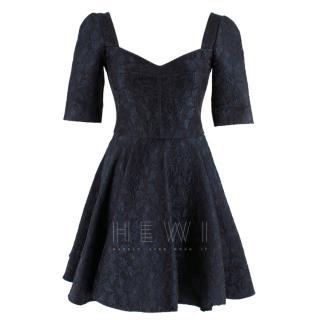 Dolce & Gabbana Blue Brocade Sweetheart Dress