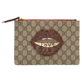 Gucci Supreme Monogram Merveilles Lips Zip Pouch in Hibiscus