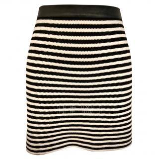T by Alexander Wang Striped Leather Trim Mini Skirt