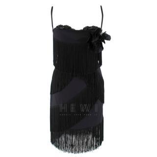 Dolce & Gabbana Fringed Silk Corseted Lace Trim Dress