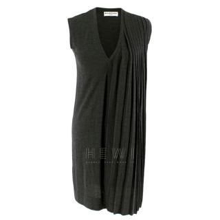 Balenciaga Knits Grey Wool Sleeveless Semi-Pleated Dress