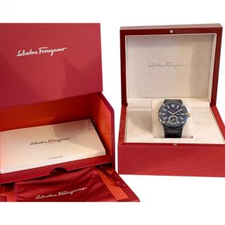 Salvatore Ferragamo 'F-80 Motion' Leather Strap Smart Watch