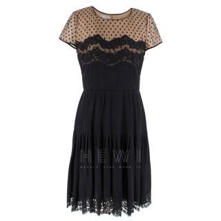 Oscar De La Renta Lace Pleated Silk Tulle Panelled Dress