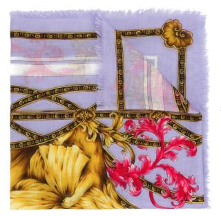 Versace Floral Lion Print Lilac Scarf