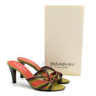 Yves Saint Laurent Red & Green Vintage Sandals