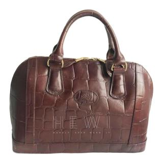 Mulberry Dark Brown Croc Embossed Top Handle Bag