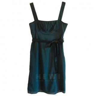 Burberry Petrol Blue Silk Ruffled Mini Dress