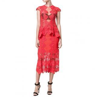 Jonathan Simkhai Red Lace Midi Skirt & Top