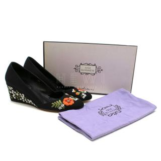 Lulu Guinness Flower & Bee Embroidered Low Wedge Pumps