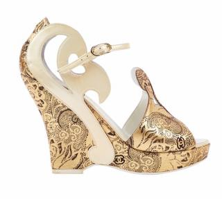 Chanel White & Gold Baroque Cut-Out Platform Wedges