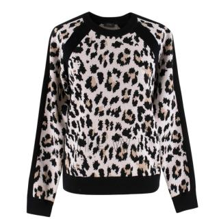 Joseph Wool-Blend Animal Print Sweater
