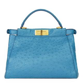 Fendi Blue Ostrich Leather Small Peekaboo Bag