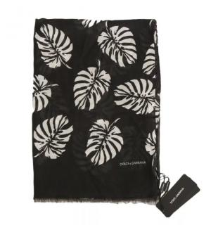 Dolce & Gabbana banana leaf print cashmere blend scarf