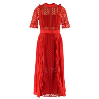 Self-Portrait Red Lace Ruffled Dress