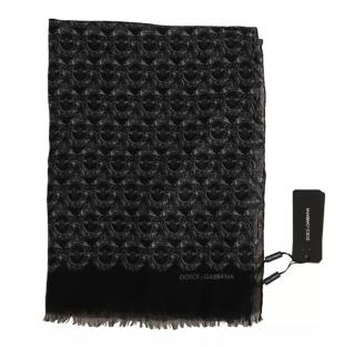 Dolce & Gabbana Men's Cashmere Royal Bee Print Scarf