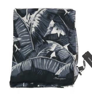 Dolce & Gabbana Men's Black Banana Leaf Print Scarf