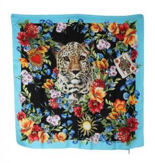 Dolce & gabbana leopard and floral print silk scarf