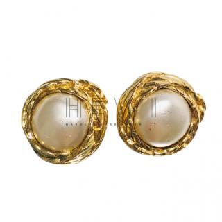 Chanel Vintage Pearl Earrings