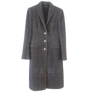 Dolce & Gabbana Wool Long Chevron Tweed Coat