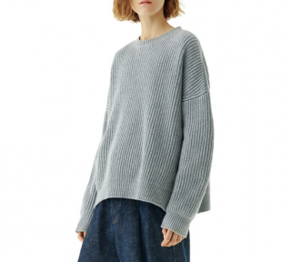 Loewe Grey Ribbed Knit Sweater - New Season